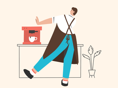 Cafe #2 simonakrejci simonakrejci coffee machine barista coffee boy boy illustration character illustration character procreate illustration procreate illustration 2d