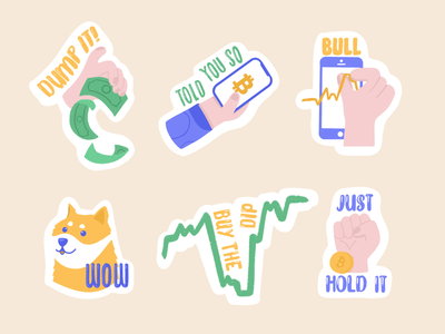 Crypto stickers money crypto currency bullmarket sticker crypto wallet phone fiat dip dogecoin bitcoin cryptocurrency hodl design simona krejci procreate illustration procreate illustration 2d