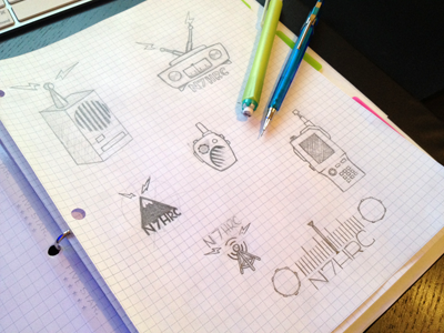 Doodly Do's sketches logo radio sketches ideas process brainstorming drawing hand drawn