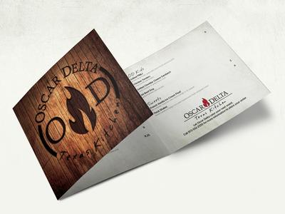 Oscar Delta Menu Mockup texas wood texture wood grain grain fire brand cattle brand burned menu food layout