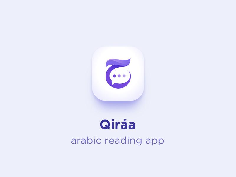 Qiráa app icon logo arabic calligraphy chat dialog reading arabic