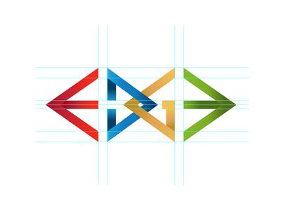 Edge Logo multi color guide line sharp typography sketch edge brand logo