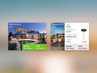 Real Estate Cards real estate investment hover list home house cards