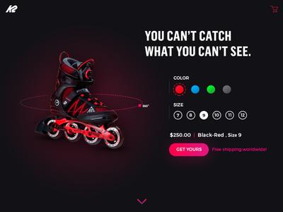 Landing Page into wheel fast dark homepage page landing 360 cart shopping rollerblades k2