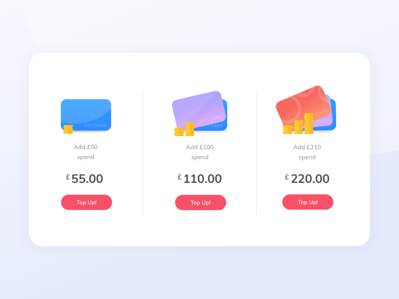 Pricing Page gift cards ecommerce illustration coins top up card pricing page