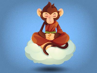 Monkey monk meditating monkey monk cloud meditating character brown