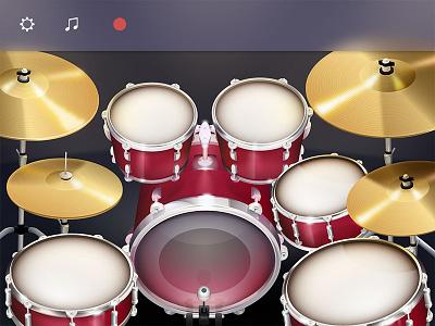 Touch Drum Set UI good detail illustration simulation interface cymbal percussion drum set ios mobile app ux ui