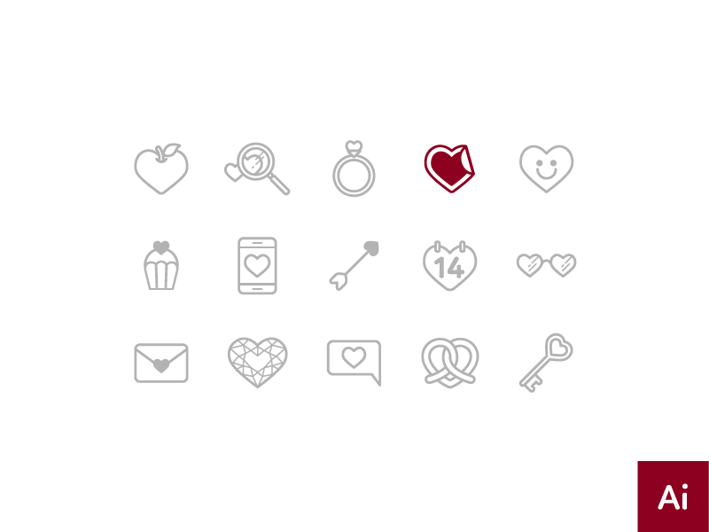 Free Valentine Theme Icons [AI] download emoji petshopbox red simple love heart freebies outline icon icon free valentine