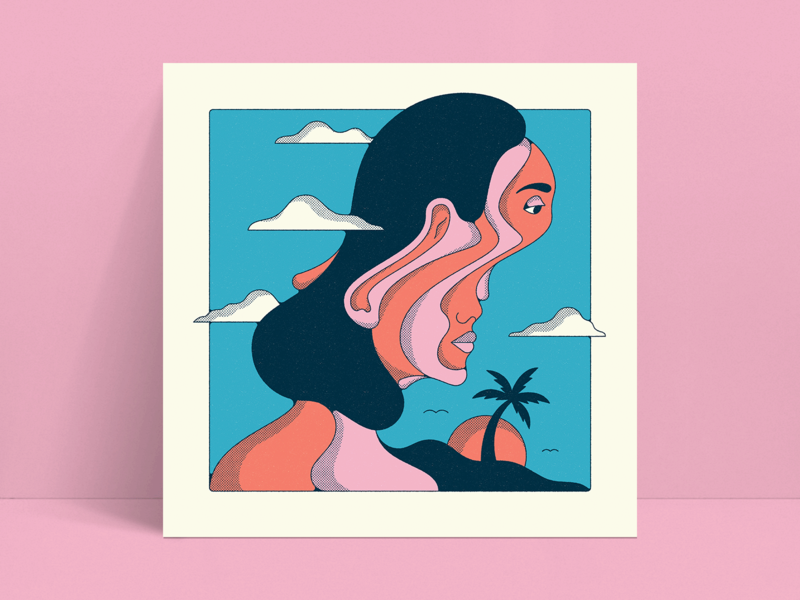 Sands of Time illustration trippy print retro warmup summer beach woman logo vintage 60s 70s psychedelic