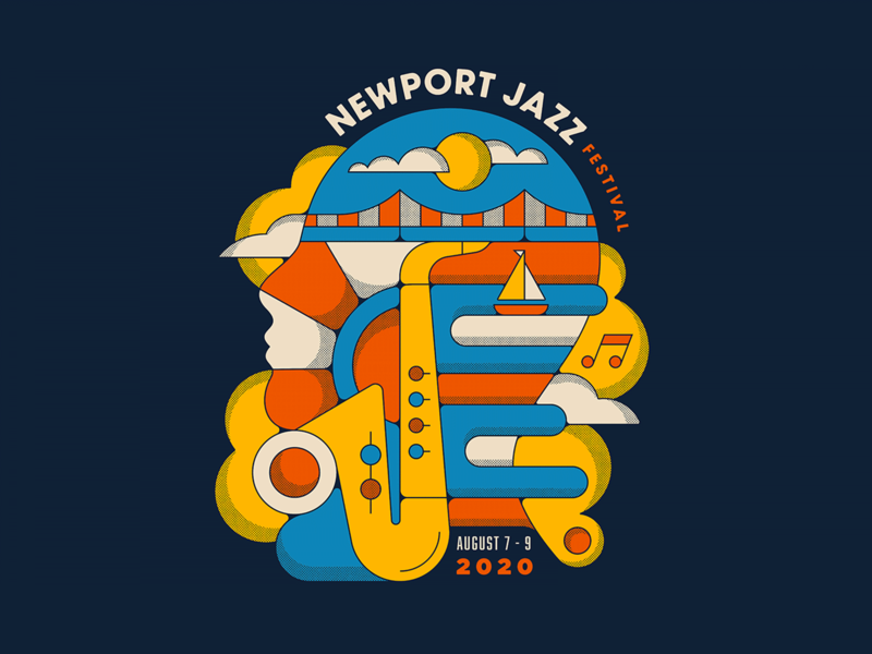 Newport Jazz Festival color 70s 60s music festival jazz shapes illustration retro vintage