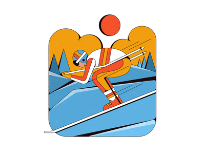 Zoom sports winter sports olympics mountains winter skiing shapes illustration retro vintage