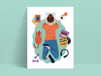Home Activities Pt. 2 poster music cat reading home pandemic shapes illustration retro vintage