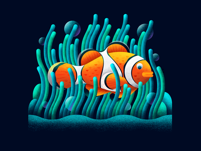 The Clown Fish shading texture geometric coral fish shapes illustration