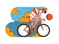 Cycling abstract sports bicycle shapes illustration retro vintage