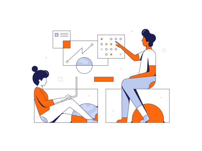 Lucidchart Illustrations graphs data working charts tech illustration