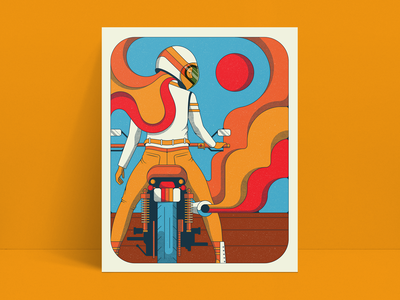 Retro Rider Pt. 2 motorcycle woman retro color psychedelic 70s 60s illustration vintage