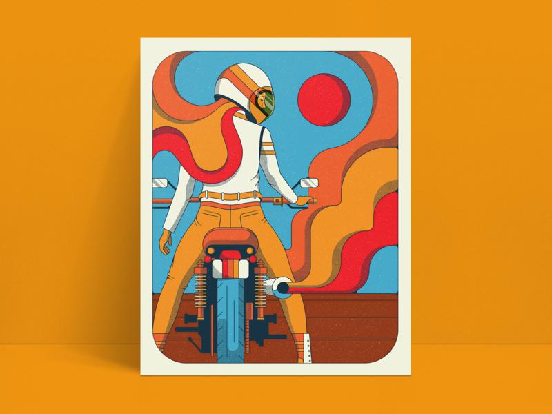 Retro Rider Pt. 2 motorcycle woman retro color psychedelic 70s 60s illustration vintage