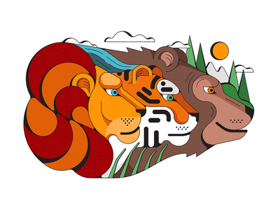 Oh My... vintage shapes illustration bear tiger lion nature animals