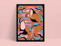 Toucan Love abstract toucan retro shapes illustration vintage