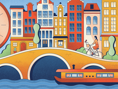British Airways High Life - Amsterdam bicycle europe houses amsterdam illustration vintage