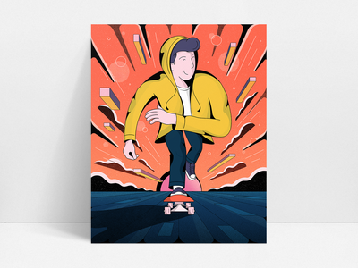 Slow Ride characters psychedelic space skateboarding perspective retro illustration vintage