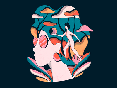 Wanderlust lineart jungle floral people woman abstract shapes retro illustration vintage