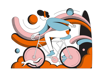Cycle Flow fun bicycle color psychedelic abstract shapes retro illustration vintage