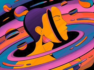 Transcend psychedelic planets space galaxy abstract woman shapes retro illustration vintage