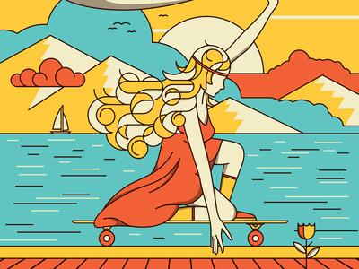 Fijne Reis longboarding girl water mountain retro groovy pop