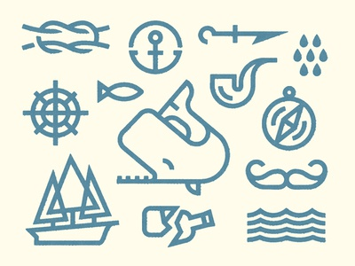 Moby Dick whale pipe moby dick icon anchor sea