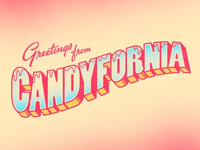 Candyfornia vintage dreamy candy greeting postcard type california 3d
