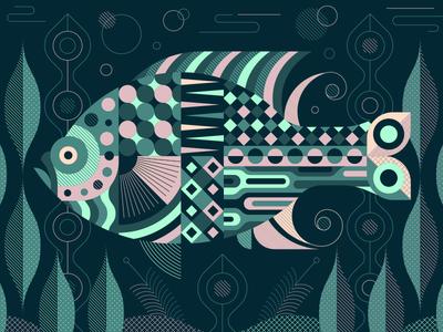 Sea Wonders geometrical shapes sea ocean fish