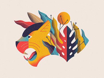 Panther Floral color floral tiger texture pro create illustration vintage