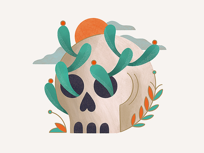 Skull Cactus floral desert cactus skull