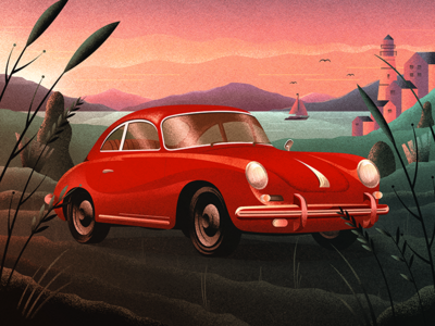 The View view scene scenery porsche car poster illustration retro vintage