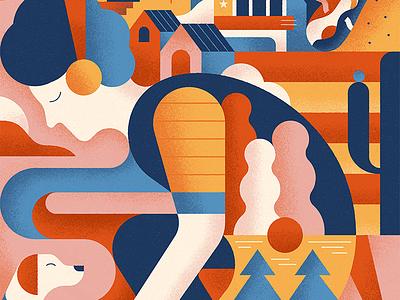Train Boy geometic scene dog color human nature oakcliff texas dallas shapes illustration vintage