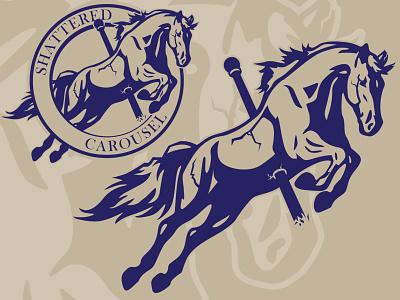 Shattered Carousel Logo horns horses merry go round carousel horse roundel circle logo design flat illustration logo design branding