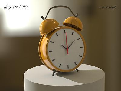 day01/30 Alarm Clock 练习 illustration 场景 ps design 黄色 建模 c4d