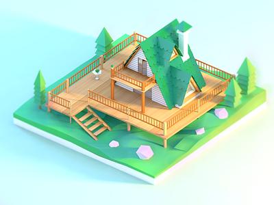 Log cabin ui design c4d 3d