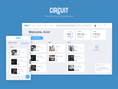 Circuit - The Workout Dashboard product organize visualization ui dashboard ui dashboard fitness workout