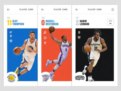 Trading Card Profiles bleacher report espn basketball sports stats data ux ui card trading nba