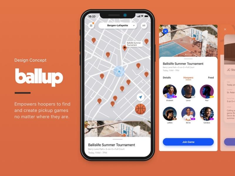 Ballup Title Intro app design nba basketball ui