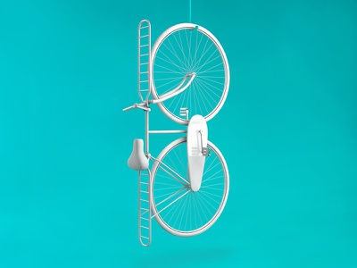 B - Bicycle typography 3d