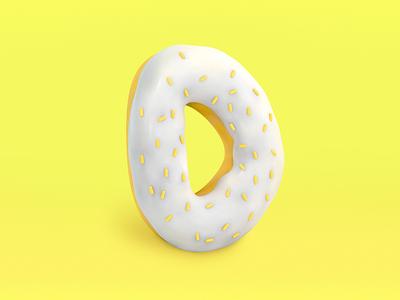 D - Donut typography 3d