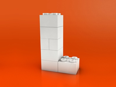 L - Lego typography 3d