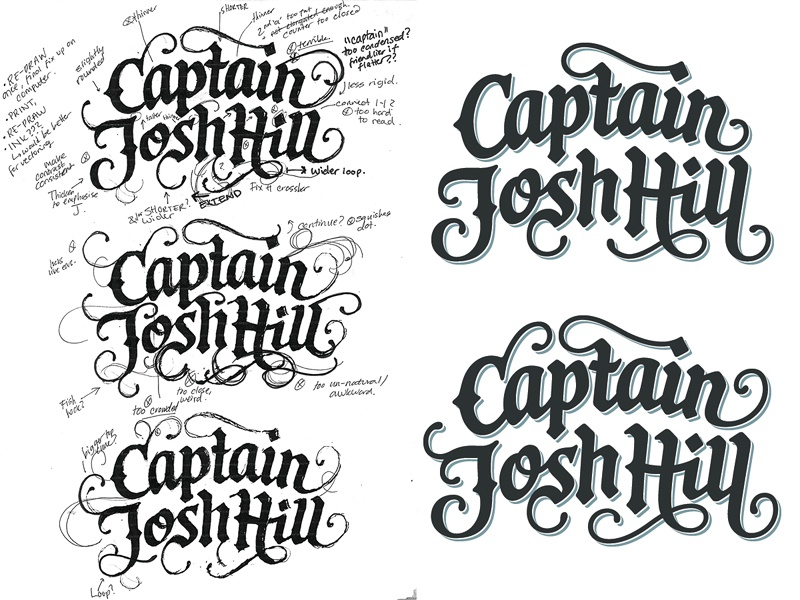 Captain Josh Hill logotype custom lettering logo design wordmark hand lettering process sketch