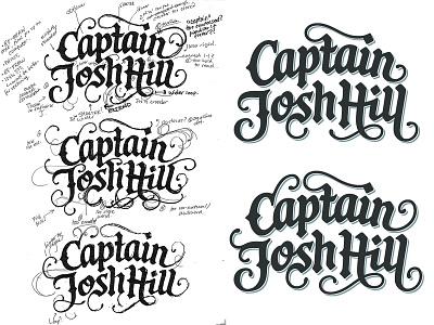 Captain Josh Hill logotype custom lettering logo design wordmark hand lettering process sketch