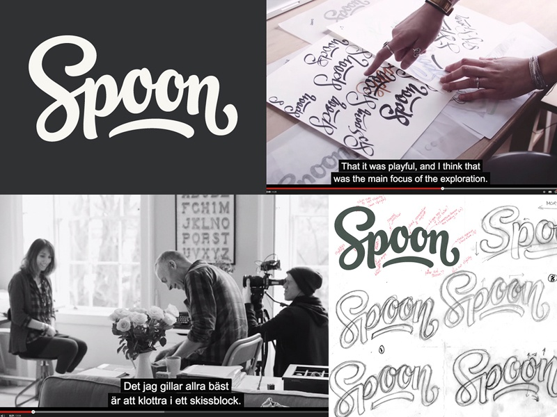 Spoon logotype loogtype branding process video documentary script logo design lettering