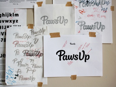 Paws Up progress brush script sketch process hand lettering wordmark logo design custom lettering logotype