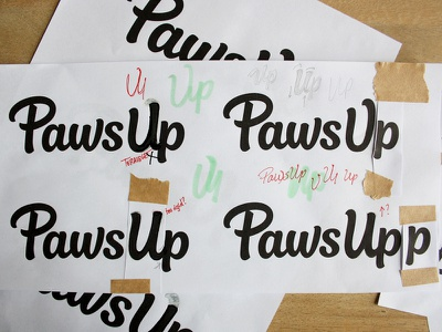 Paws Up - revised brush script process hand lettering wordmark logo design custom lettering logotype